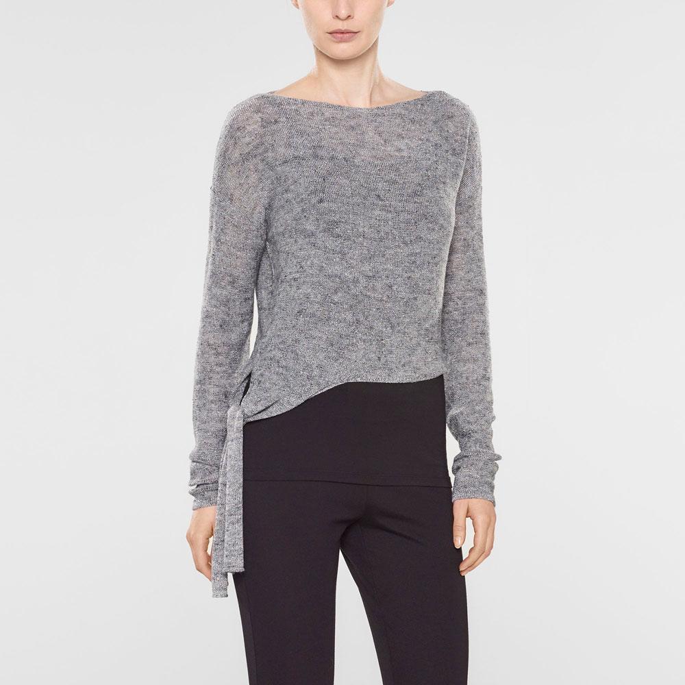 Sarah Pacini Short sweater with soft belt Front