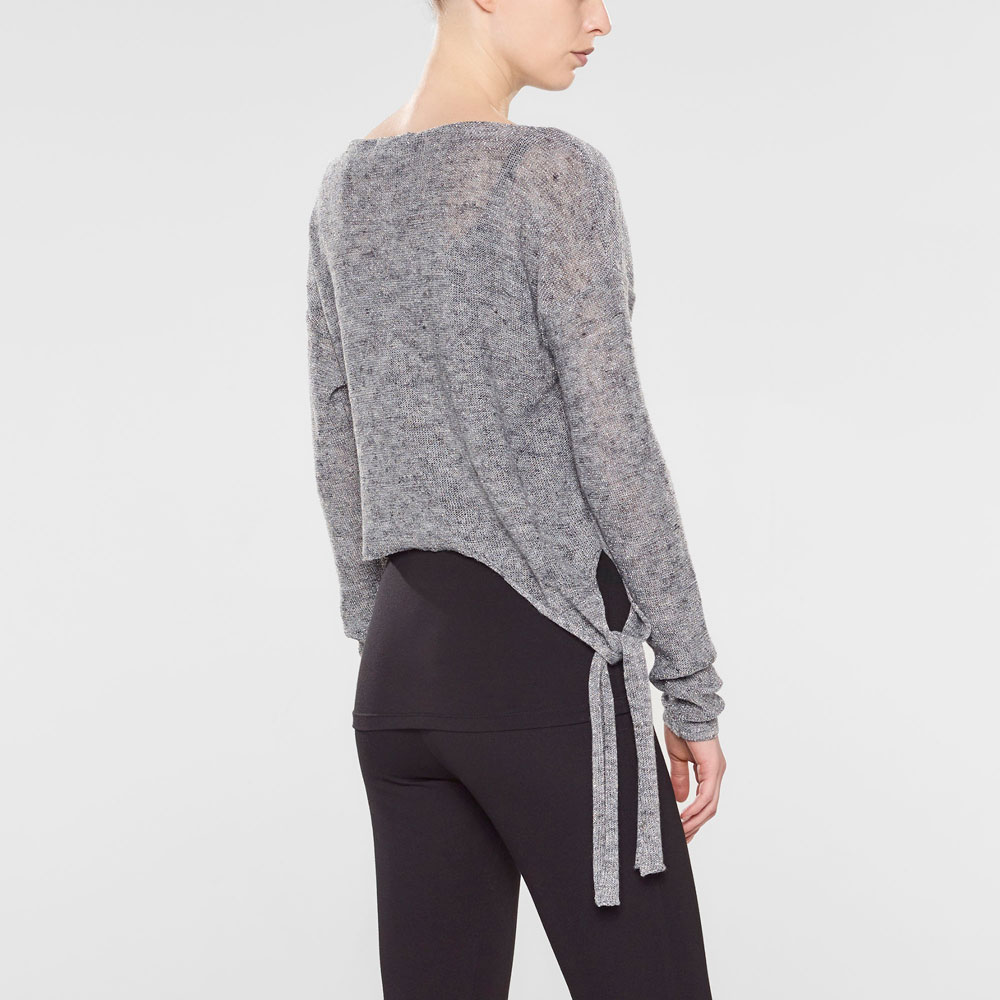 Sarah Pacini Short sweater with soft belt Back view