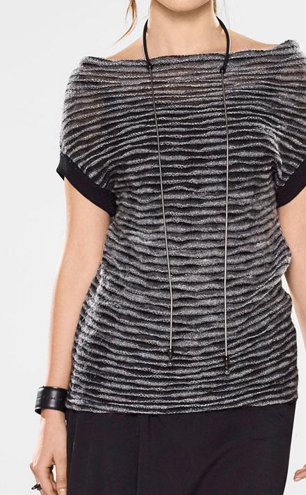 Sarah Pacini Ärmelloser sweater mit schalkragen Look