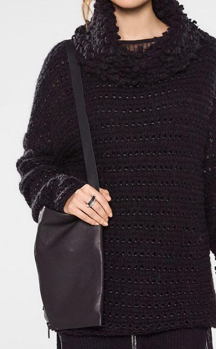 Sarah Pacini Langer sweater mit trichterkragen Look