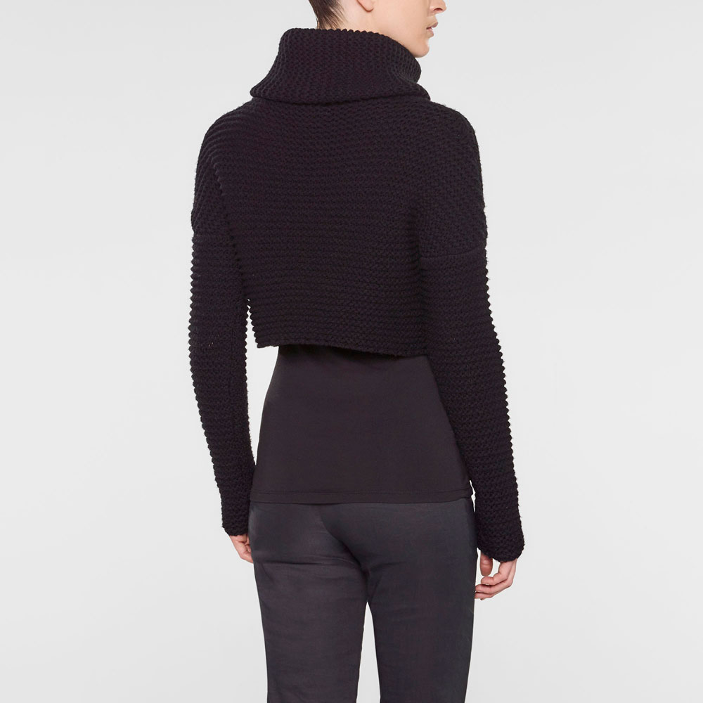 Sarah Pacini Funnel neck short sweater Back view