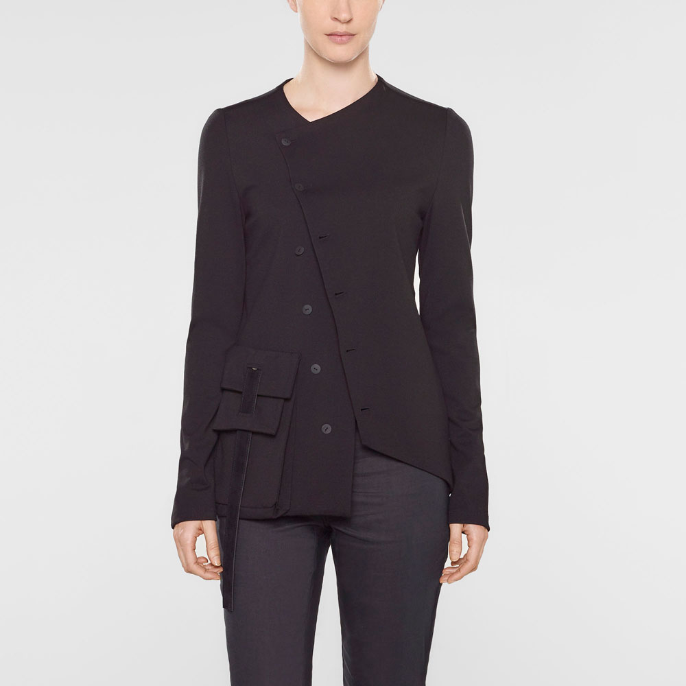 Sarah Pacini Long fitted assymetrical style jacket Front