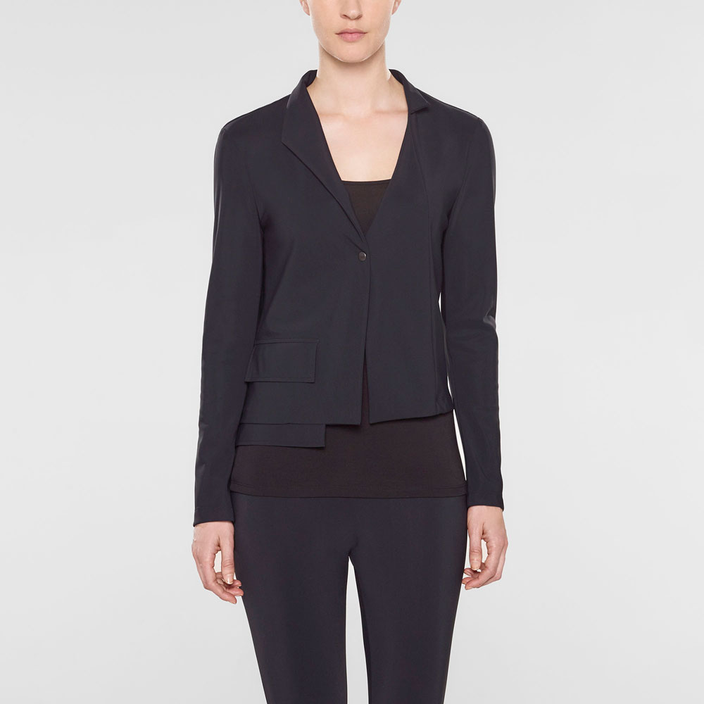 Sarah Pacini Short jacket, asymmetrical collar Front