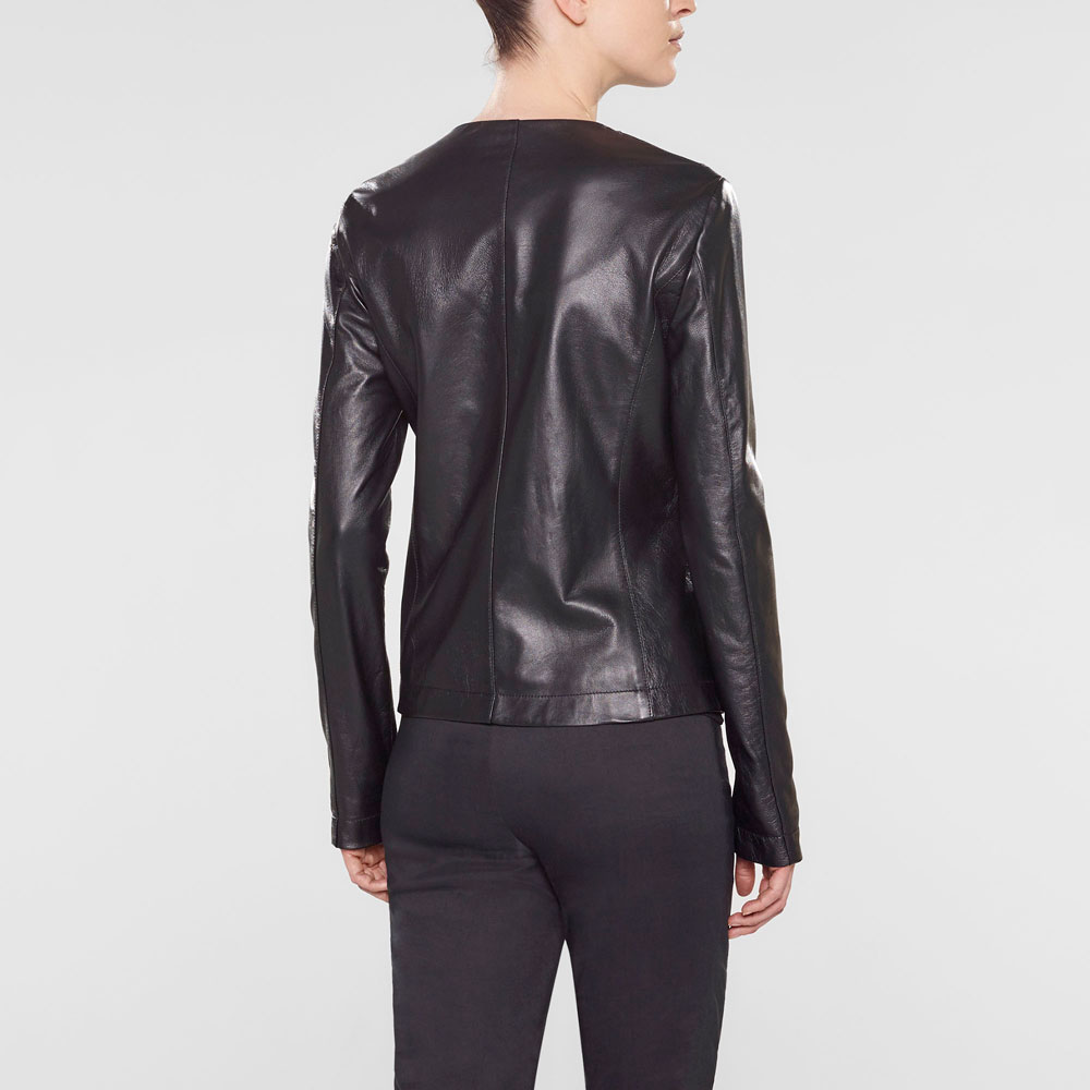 Sarah Pacini Fitted leather jacket Back view