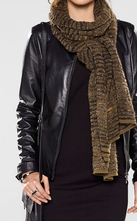 Sarah Pacini Fitted leather jacket Look