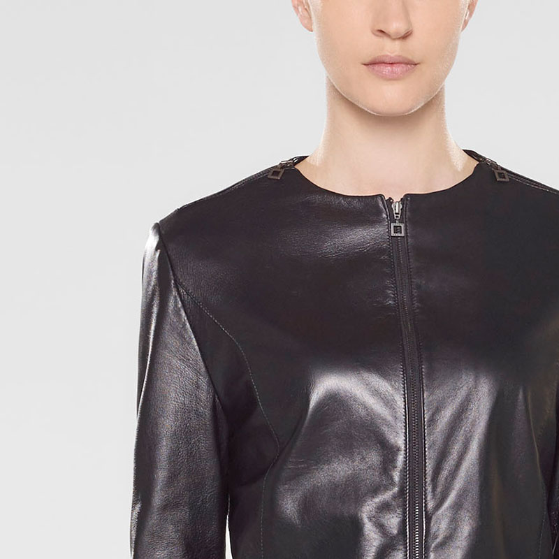 Sarah Pacini Fitted leather jacket Front