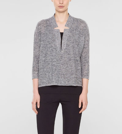 Sarah Pacini Large sweater with 3/4 sleeves with deep v neckline and shirt collar Front