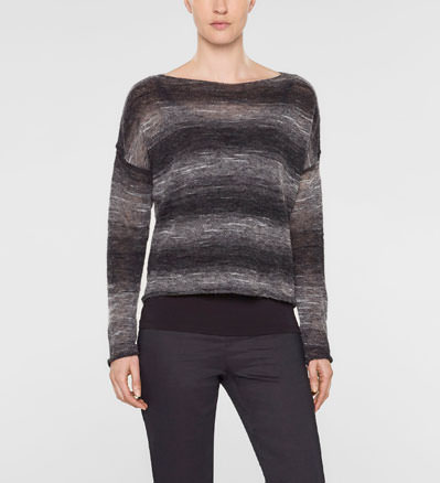 Sarah Pacini Short large sweater with long sleeves and scoop neckline Front