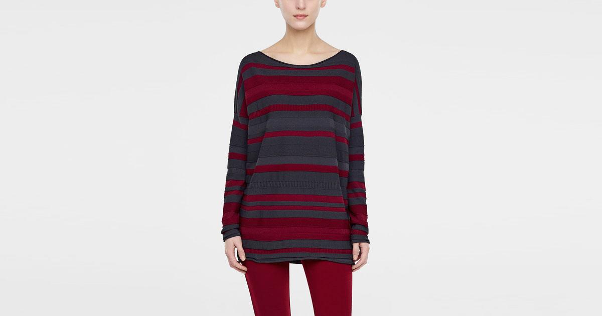 Mix Viscose Long Sweater, Line Pattern By Sarah Pacini
