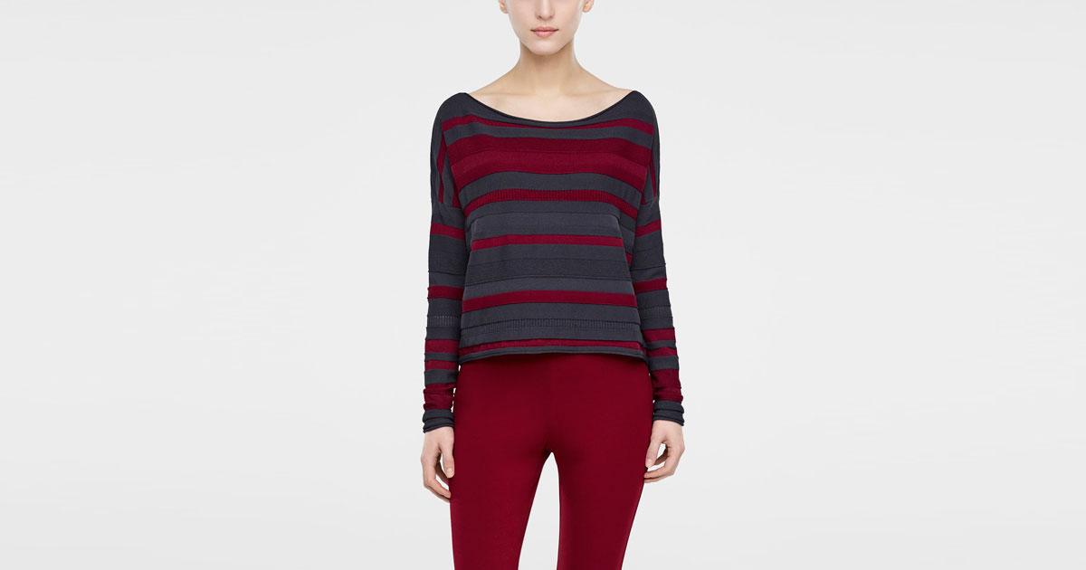 Mix Viscose Short Sweater, Line Pattern By Sarah Pacini