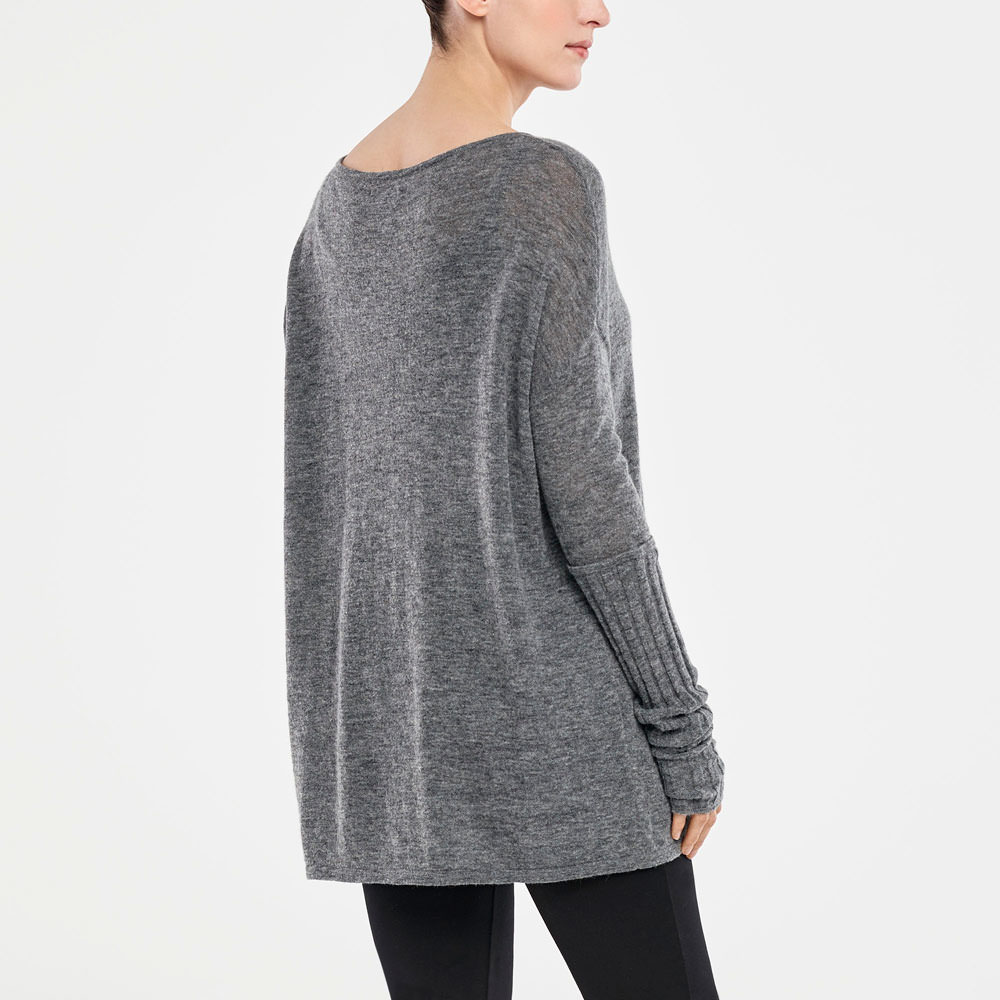Sarah Pacini BOAT KNECK SWEATER - RIBBED SLEEVES Back view