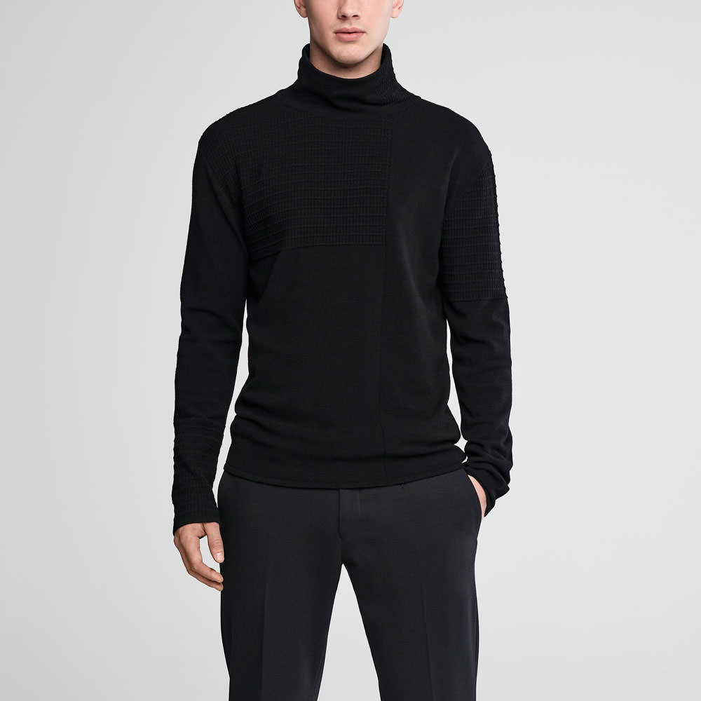 Sarah Pacini Mock neck sweater - webbed pattern Front