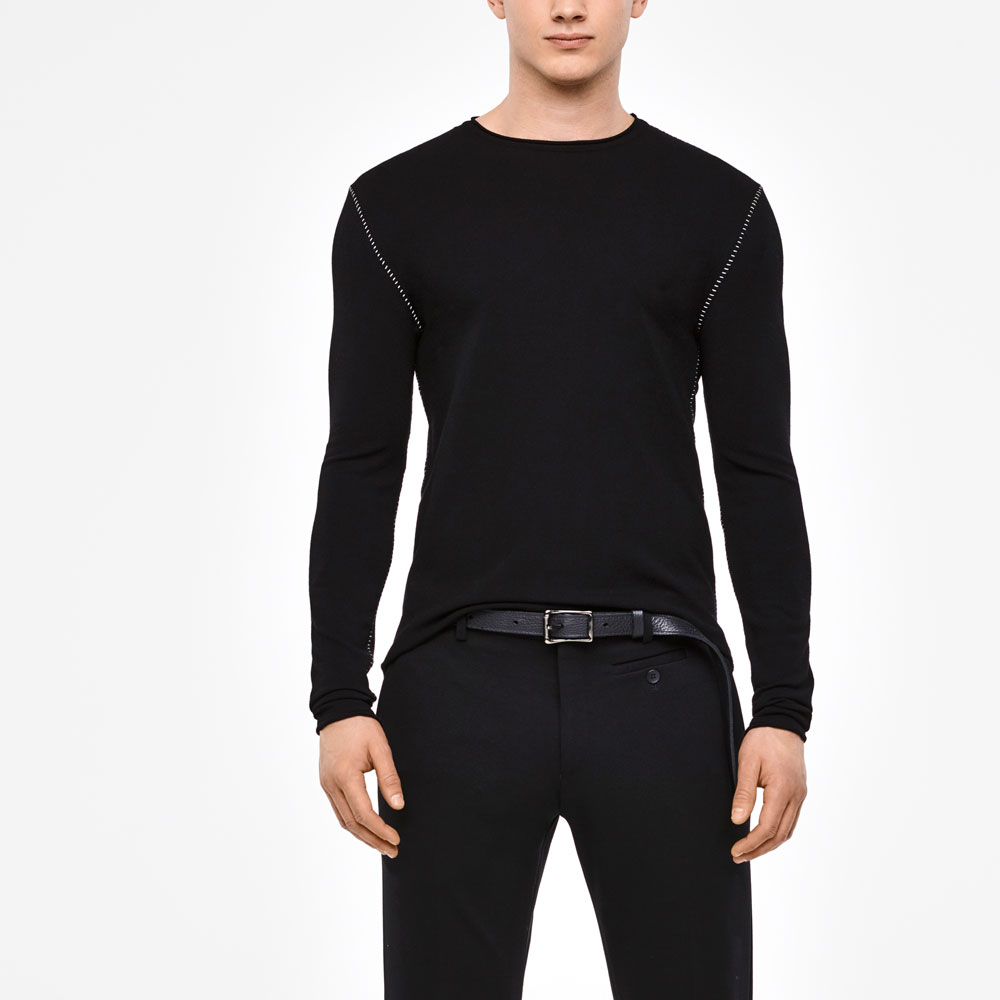 Sarah Pacini FULL SLEEVE SWEATER - OVERSTITCHED DETAILS Front