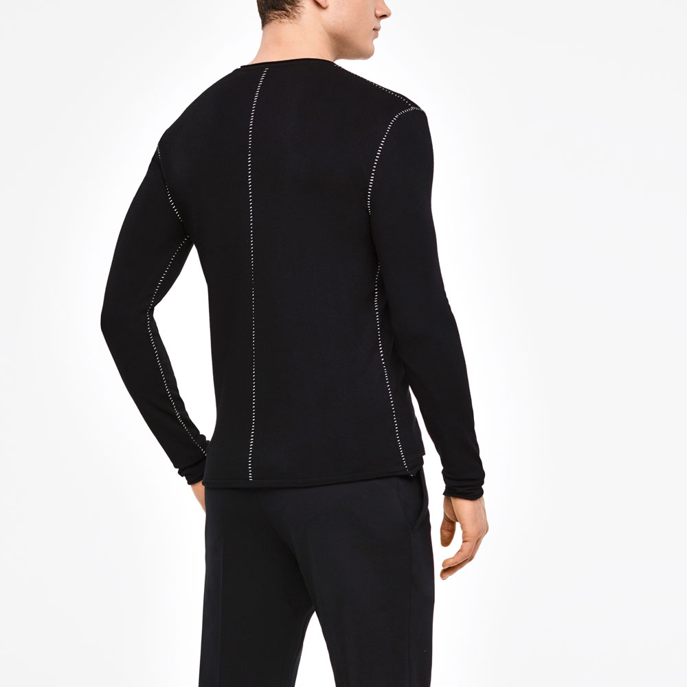 Sarah Pacini FULL SLEEVE SWEATER - OVERSTITCHED DETAILS Back view