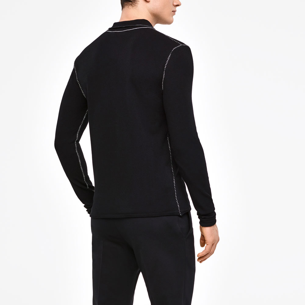 Sarah Pacini POLO SWEATER - OVERSTITCHED DETAILS Back view