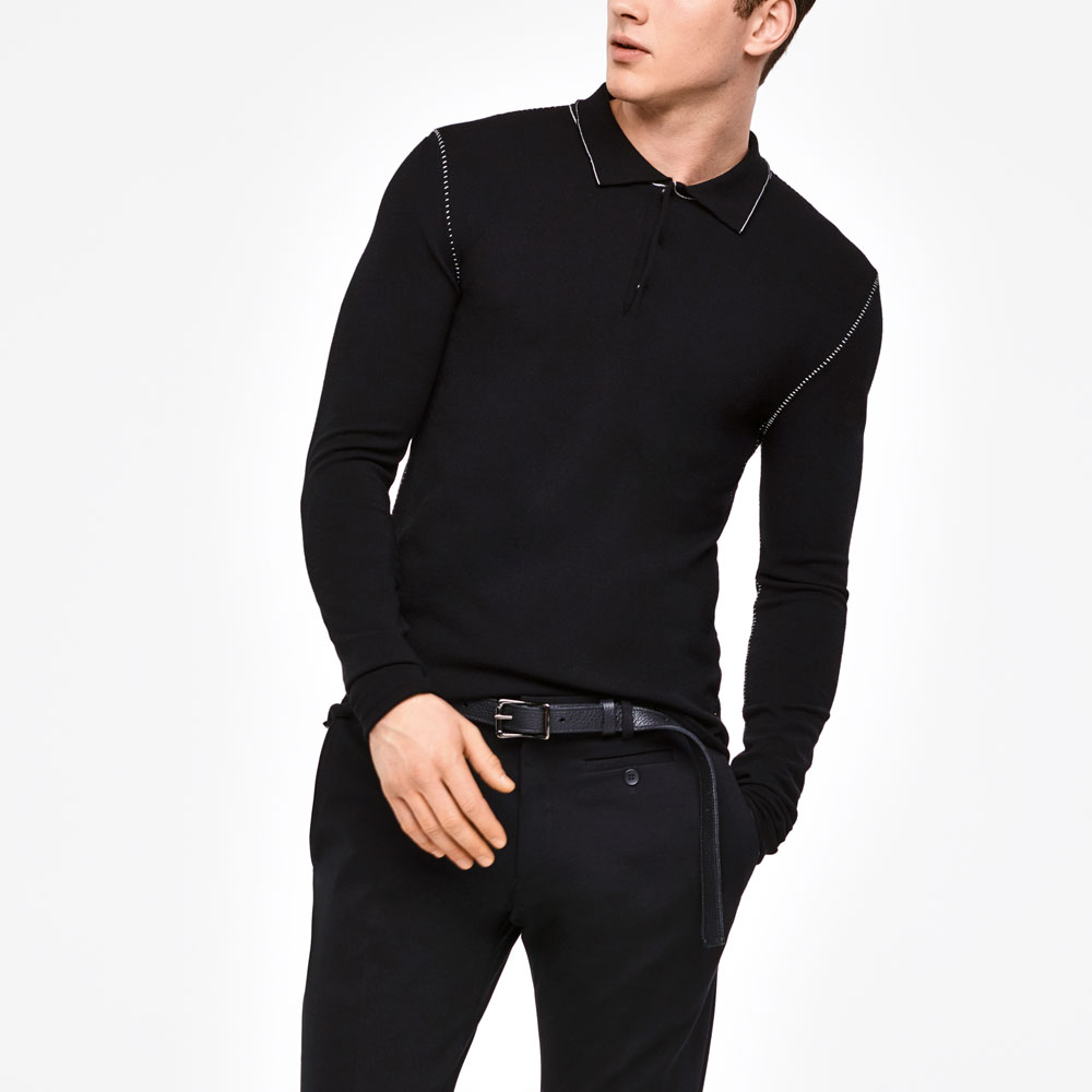 Sarah Pacini POLO SWEATER - OVERSTITCHED DETAILS Mixed
