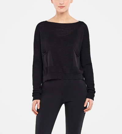 Sarah Pacini CROPPED SWEATER - HONEYCOMB DESIGN Front