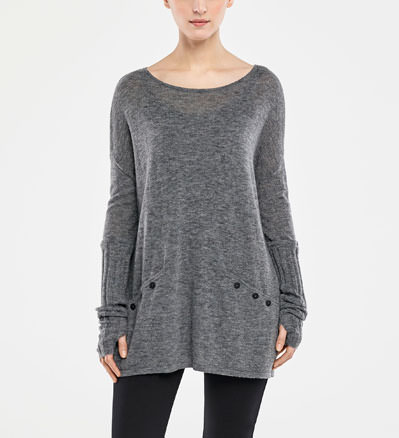Sarah Pacini BOAT KNECK SWEATER - RIBBED SLEEVES Front