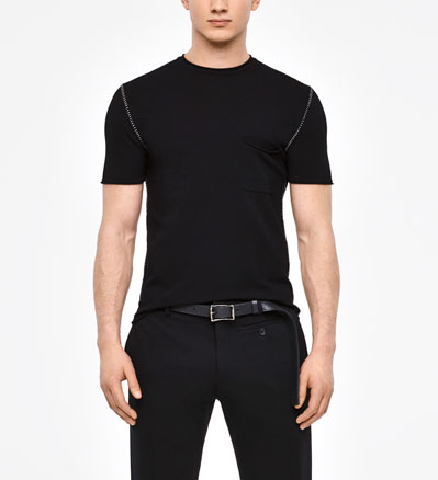 Sarah Pacini SHORT SLEEVE SWEATER - OVERSTITCHED DETAILS Front