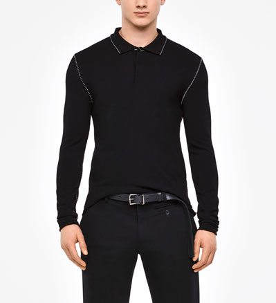 Sarah Pacini POLO SWEATER - OVERSTITCHED DETAILS Front