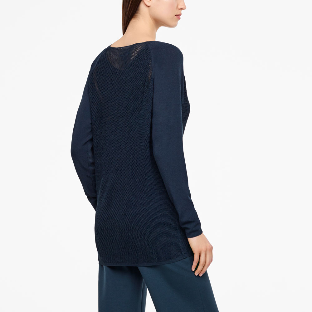 Sarah Pacini LONG MESH SWEATER - RAGLAN SLEEVES Back view