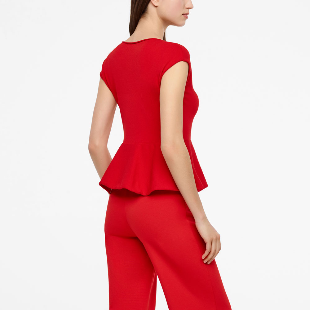 Sarah Pacini SLEEVELESS SWEATER WITH BASQUE Back view
