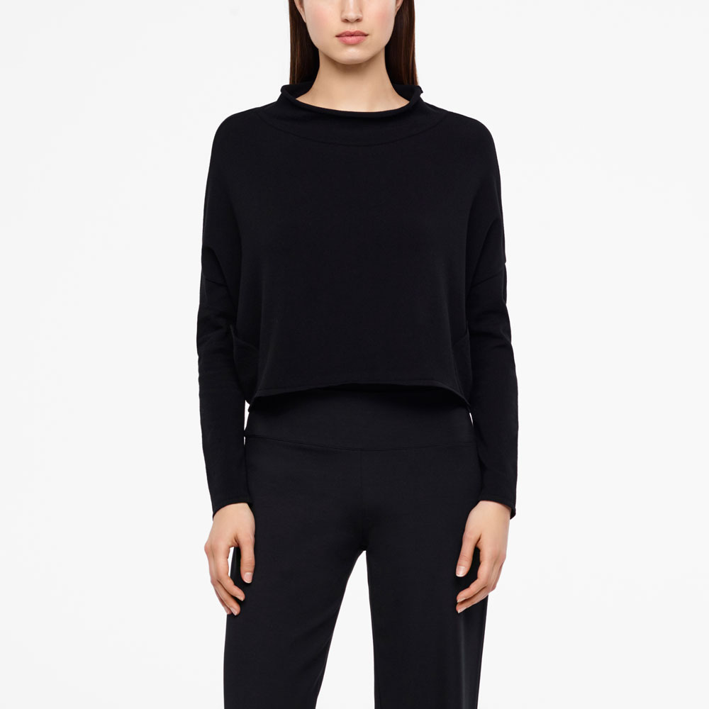 Sarah Pacini CROPPED SWEATER - FUNNEL NECK Front