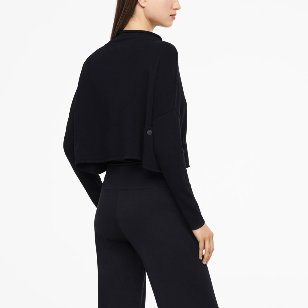 Sarah Pacini CROPPED SWEATER - FUNNEL NECK Back view