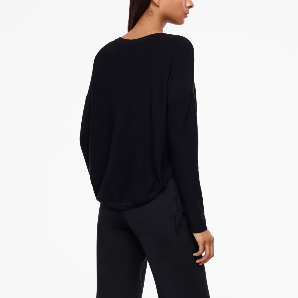 Sarah Pacini ROUNDED HEM SWEATER - ZIPPED POCKETS Back view