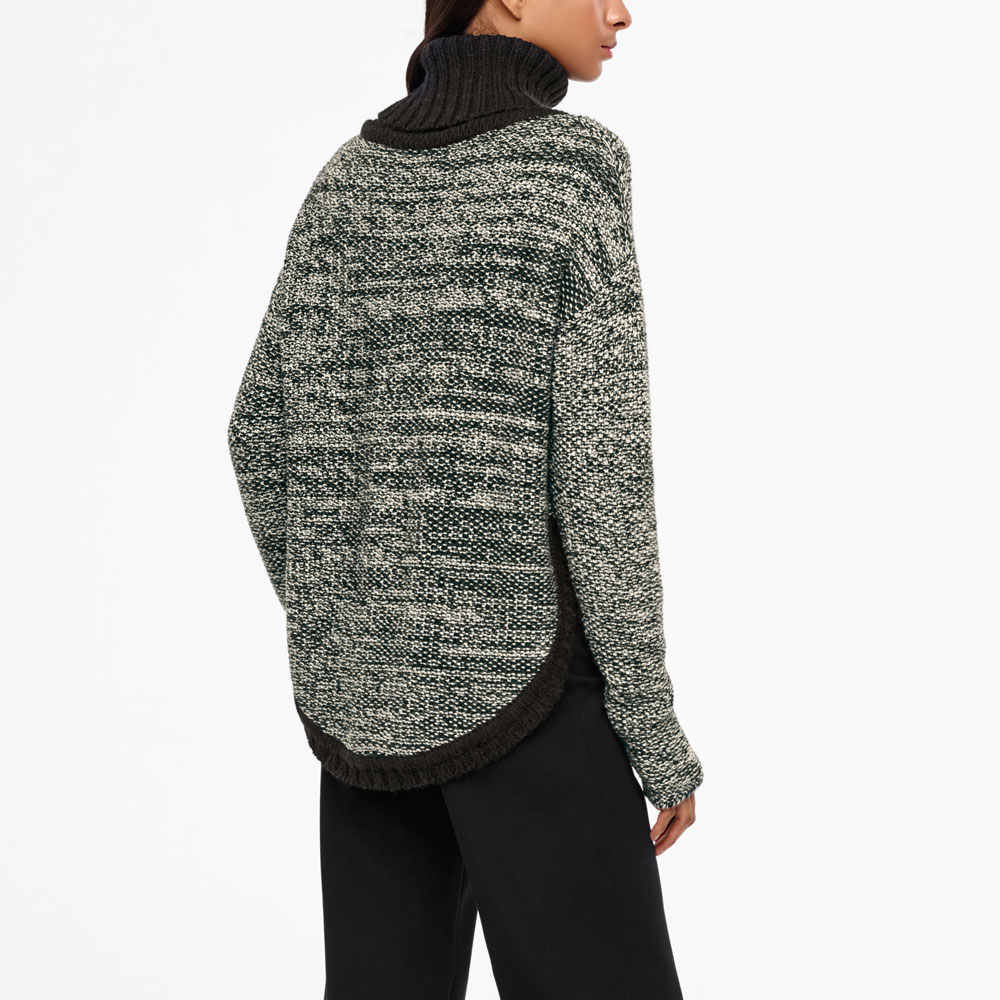 Sarah Pacini MERINO-ALPACA SWEATER - ADJUSTABLE COLLAR Back view