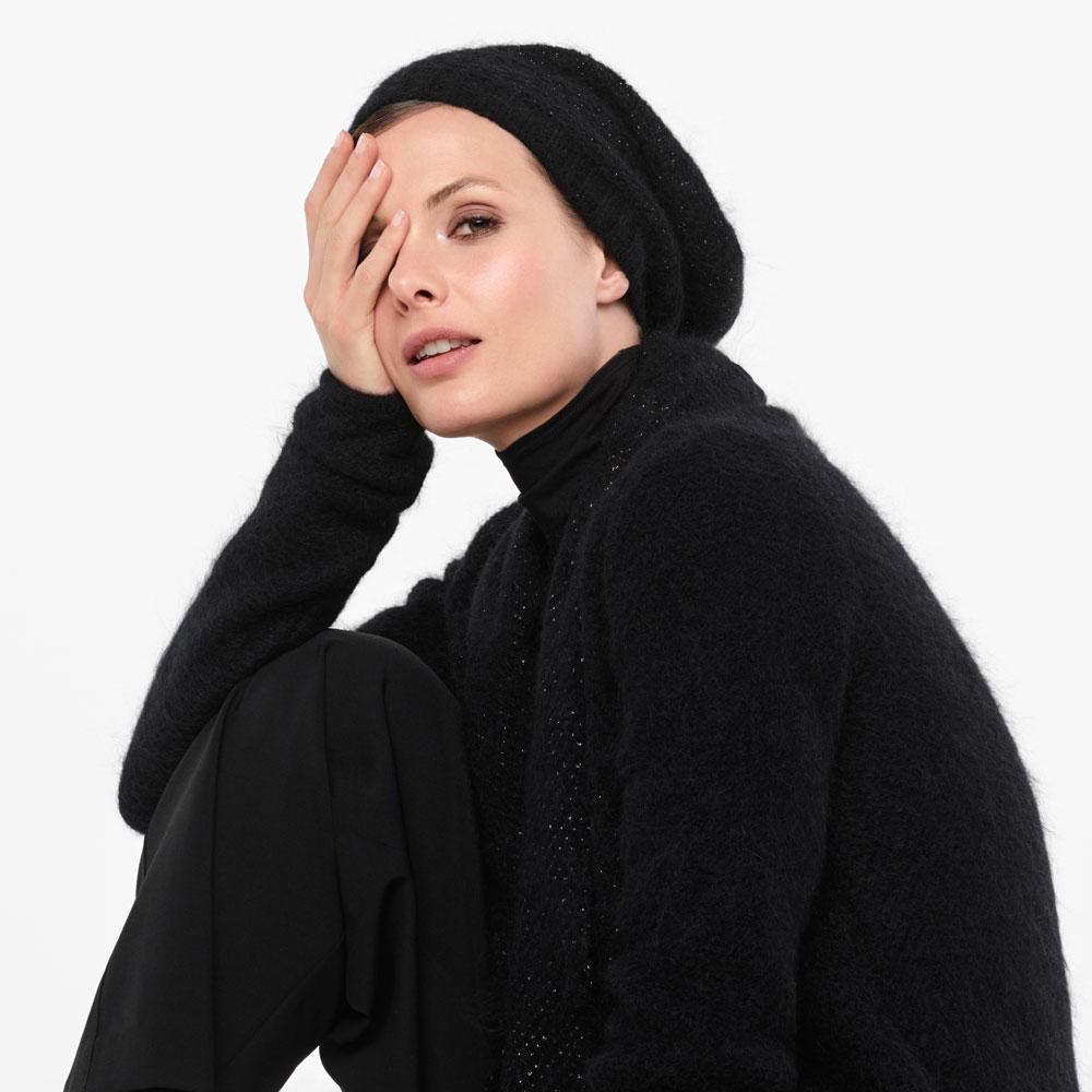 Sarah Pacini MOHAIR-MERINO KAP - SCHITTEREND BREIWERK Voorzijde