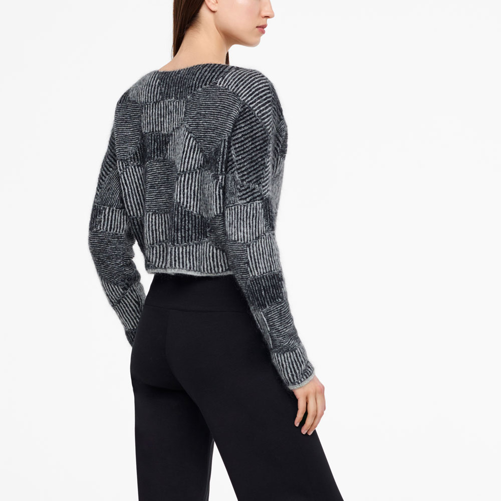 Sarah Pacini CROPPED SWEATER - HONEYCOMB JACQUARD Back view
