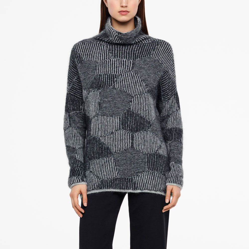 Sarah Pacini LONG SWEATER - HONEYCOMB JACQUARD Front
