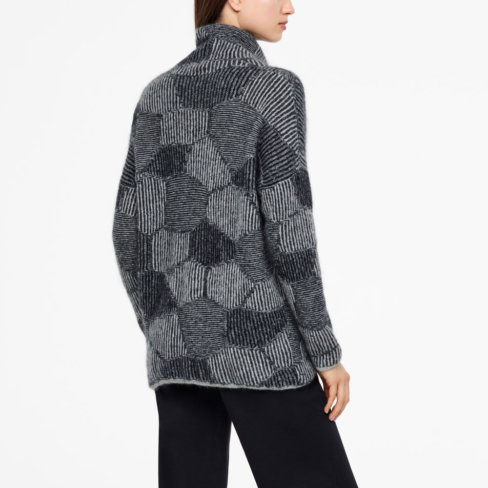 Sarah Pacini LONG SWEATER - HONEYCOMB JACQUARD Back view