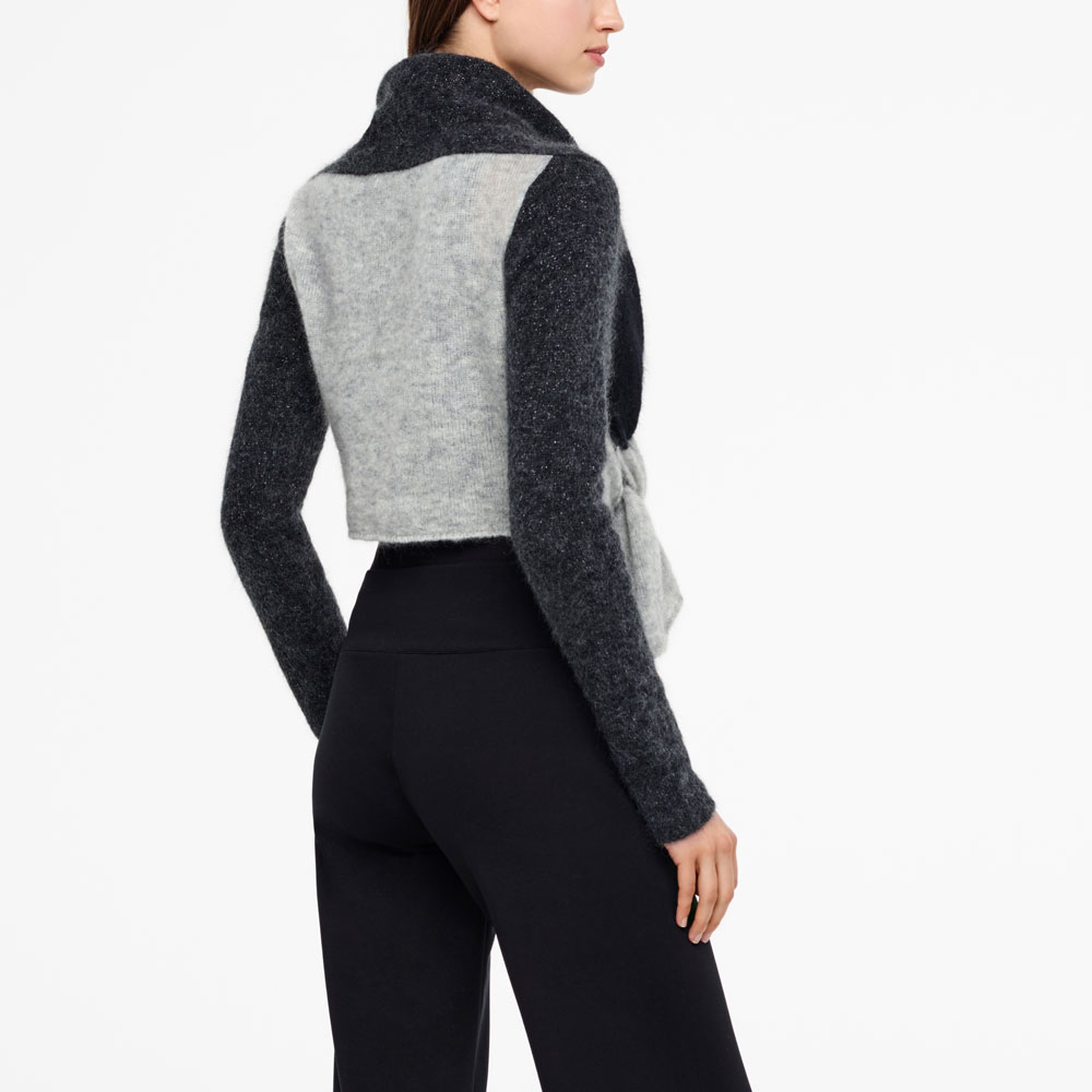 Sarah Pacini COLOR-BLOCK CARDIGAN - FULL SLEEVES Back view