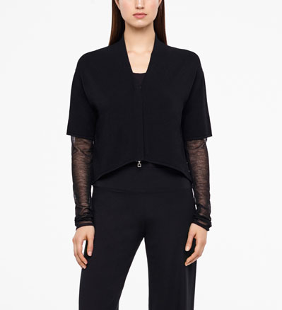 Sarah Pacini CROPPED CARDIGAN - TRANSLUCENT SLEEVES Front