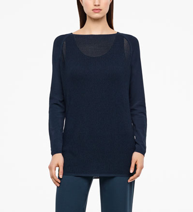 Sarah Pacini LONG MESH SWEATER - RAGLAN SLEEVES Front