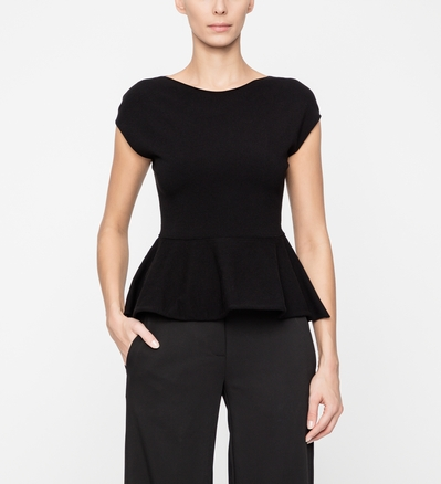 Sarah Pacini SLEEVELESS SWEATER WITH BASQUE Front