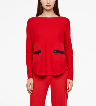 Sarah Pacini ROUNDED HEM SWEATER - ZIPPED POCKETS Front