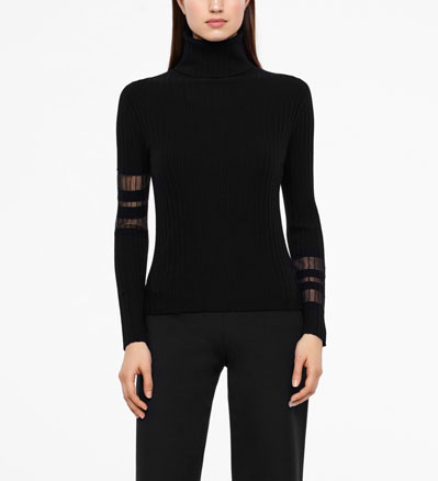 Sarah Pacini STRIPED SWEATER - TURTLENECK Front
