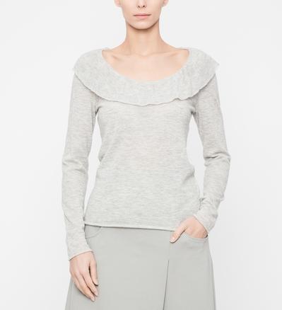 Sarah Pacini Sweater - flounce neckline Front