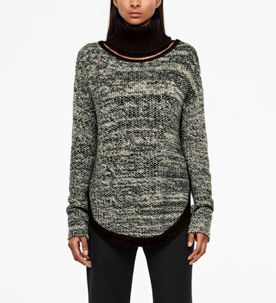 Sarah Pacini MERINO-ALPACA SWEATER - ADJUSTABLE COLLAR Front
