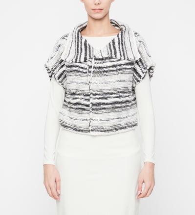 Sarah Pacini Wollen cardigan - glanzende strepen Voorzijde