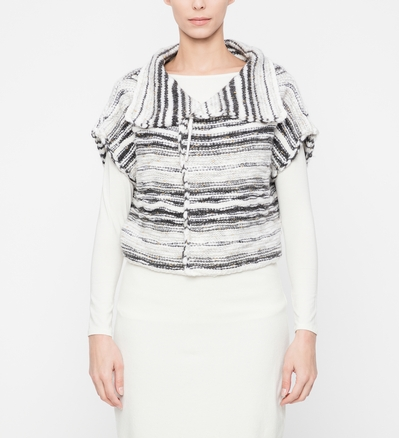 Sarah Pacini Wool cardigan - shimmering stripes Front
