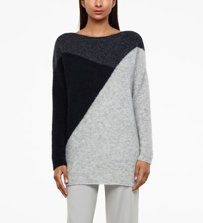 Sarah Pacini PULL LONG - MOTIF COLOR BLOCK De face