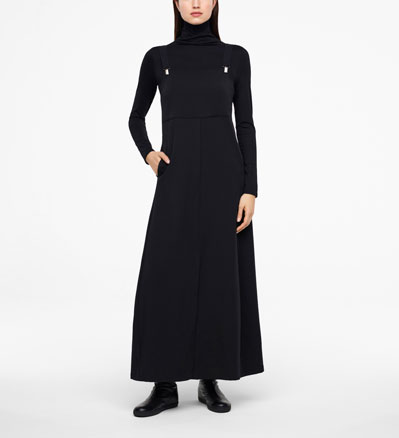 Sarah Pacini GABARDINE DRESS - SUSPENDERS Front