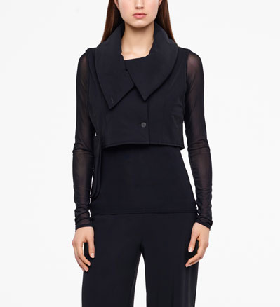 Sarah Pacini SLEEVELESS COAT - CROPPED Front