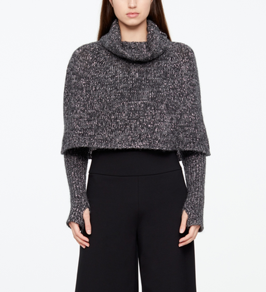 Sarah Pacini CHINÉ PONCHO - RIBBED SLEEVES Front
