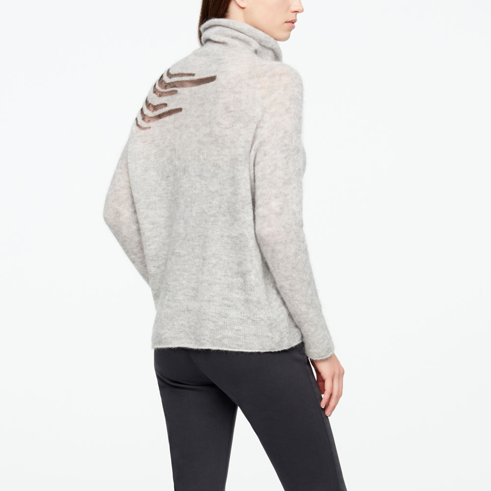 Sarah Pacini MOHAIR SWEATER - MESH LINES Back view