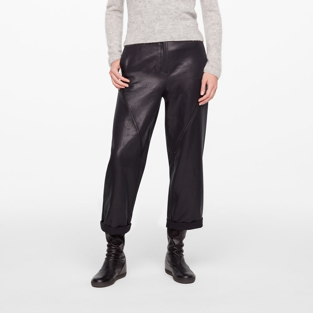 Sarah Pacini CROPPED PANTS - LEATHER SHEEN Front
